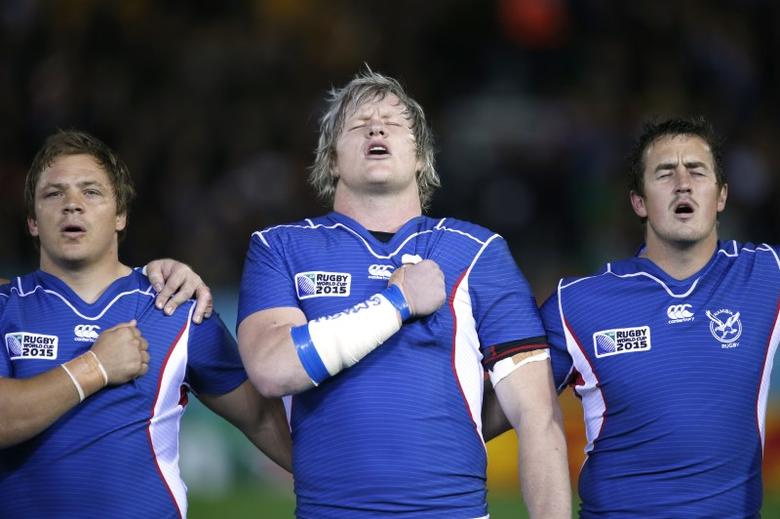 Namibia v Georgia - IRB Rugby World Cup 2015 Pool C - Sandy Park, Exeter, England - 7/10/15. Namibia's Renaldo Bothma (C) during the national anthem Action Images via Reuters / Peter Cziborra Livepic