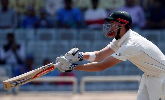 Cricket - India v Australia - Third Test cricket match - Jharkhand State Cricket Association Stadium, Ranchi, India - 20/03/17 - Australia's Matt Renshaw is struck by a ball. REUTERS/Adnan Abidi