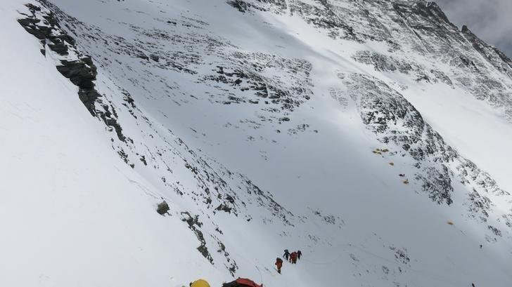 Climbers walk towards camp four from camp three at Everest, in this picture taken on May 19, 2016. Phurba Tenjing Sherpa/Handout via REUTERS/Files
