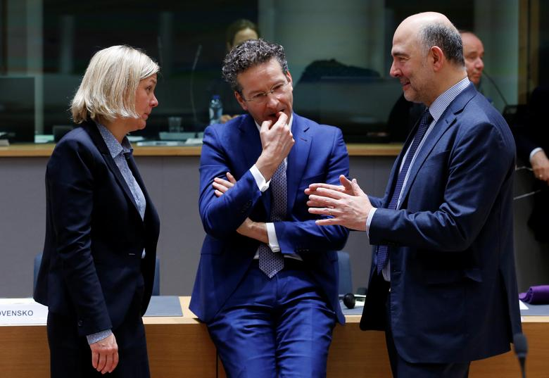 (L-R) Swedish Finance Minister Magdalena Andersson, Dutch Finance Minister and Eurogroup President Jeroen Dijsselbloem and European Economic and Financial Affairs Commissioner Pierre Moscovici attend European Union finance ministers meeting in Brussels, Belgium February 21, 2017. REUTERS/Francois Lenoir