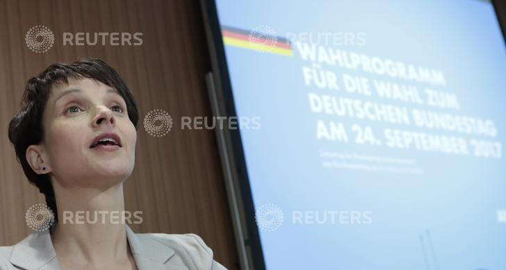Anti-immigration party Alternative for Germany (AfD) leader Frauke Petri during a news conference at the Bundespressekonferenz in Berlin, Germany, March 9, 2017.     REUTERS/Axel Schmidt