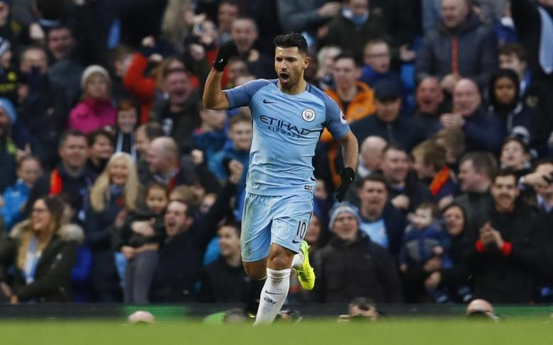 Britain Soccer Football - Manchester City v Liverpool - Premier League - Etihad Stadium - 19/3/17 Manchester City's Sergio Aguero celebrates scoring their first goal  Action Images via Reuters / Jason Cairnduff Livepic
