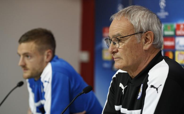 Football Soccer - Leicester City Press Conference - Ramon Sanchez Pizjuan Stadium, Seville, Spain - 21/2/17 Leicester City's Jamie Vardy and Leicester City manager Claudio Ranieri during the press conference  Action Images via Reuters / John Sibley Livepic