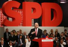Social Democratic Party (SPD) leader and candidate in the upcoming general elections Martin Schulz addresses an SPD party convention in Berlin, Germany, March 19, 2017. REUTERS/Axel Schmidt