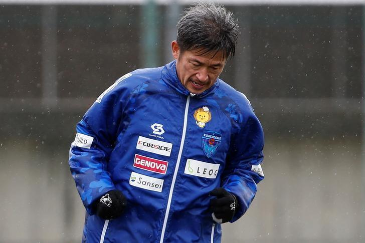Yokohama FC's Japanese striker Kazuyoshi Miura, oldest footballer to score competitive goal, takes part in a training session in Yokohama, Japan, March 21, 2017.   REUTERS/Toru Hanai