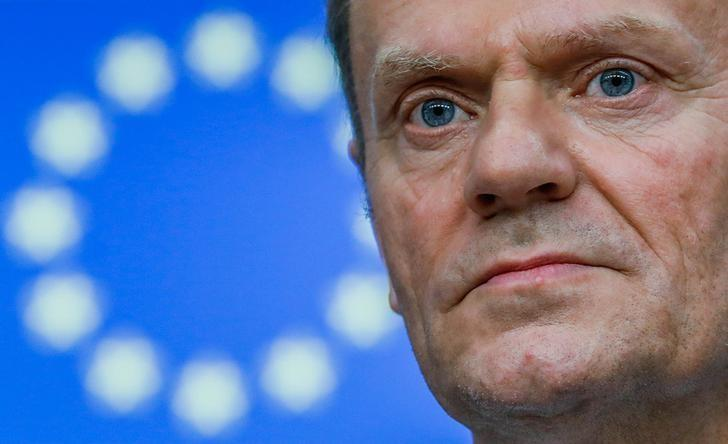 European Council President Donald Tusk takes part in a news conference after being reappointed chairman of the European Council during a EU summit in Brussels, Belgium, March 9, 2017. REUTERS/Yves Herman