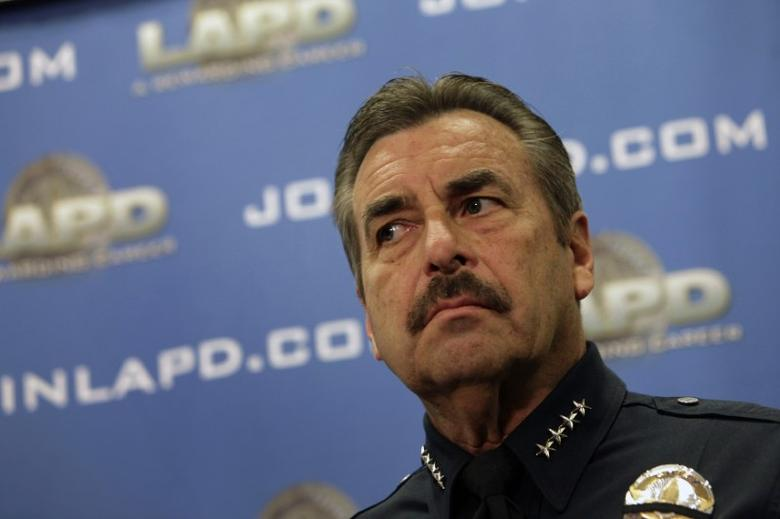 LAPD Police Chief Charlie Beck looks on during a news conference at the LAPD Headquarters in Los Angeles, California, February 10, 2013. REUTERS/Patrick Fallon/Files