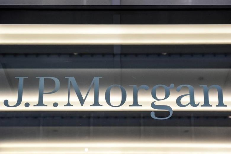 FILE PHOTO: A J.P. Morgan logo is seen in New York City, U.S. January 10, 2017. REUTERS/Stephanie Keith/File Photo