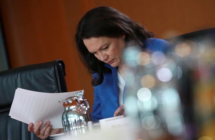German Labour Minister Andrea Nahles attends a cabinet meeting at the Chancellery in Berlin, Germany September 14, 2016. REUTERS/Fabrizio Bensch