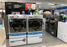 Sears Kenmore washing machines are shown for sale inside a Sears department store in La Jolla, California, U.S., March 22, 2017.    REUTERS/Mike Blake
