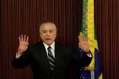 Presidente Michel Temer durante reunião sobre reforma da Previdência no Palácio do Planalto, em Brasília 21/02/2017 REUTERS/Ueslei Marcelino