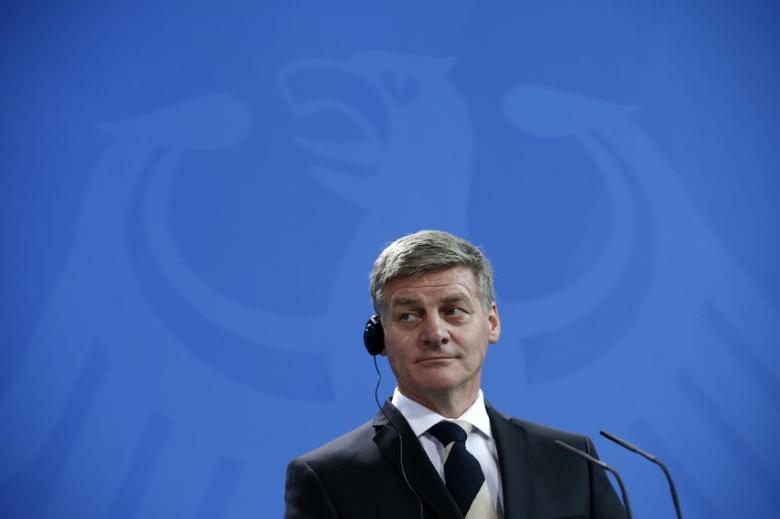 New Zealand Prime Minister Bill English during news conference at the chancellery in Berlin, Germany, January 16, 2017.       REUTERS/Fabrizio Bensch