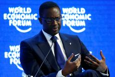 "Tidjane Thiam, Chief Executive Officer of Swiss bank Credit Suisse attends the session ""The Global Economic Outlook"" during the annual meeting of the World Economic Forum (WEF) in Davos, Switzerland January 23, 2016. REUTERS/Ruben Sprich/File Photo"