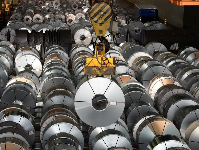 Steel rolls are pictured at the plant of German steel company Salzgitter AG in Salzgitter, Lower Saxony, Germany March 3, 2016. REUTERS/Fabian Bimmer/File Photo