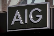 The AIG logo is seen at its building in New York's financial district March 19, 2015. REUTERS/Brendan McDermid
