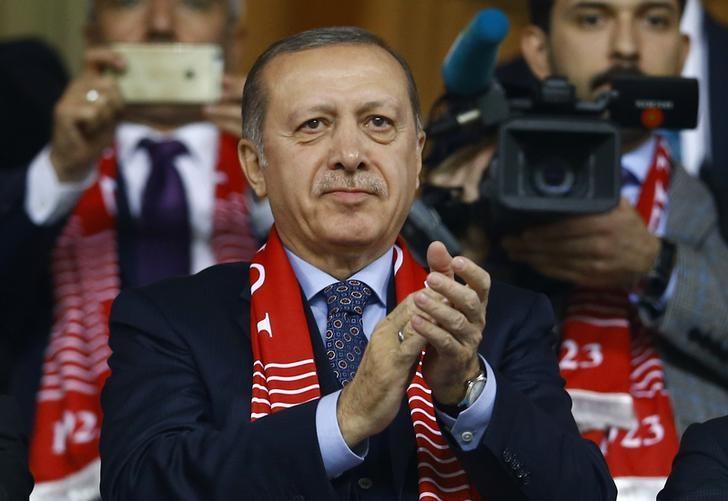 Football Soccer - Turkey v Finland - 2018 World Cup Qualifying European Zone - Antalya arena, Antalya, Turkey - 24/3/17 Turkey's President Tayyip Erdogan reacts after Turkey's win. REUTERS/Murad Sezer