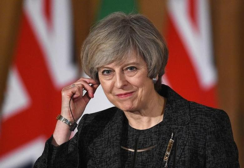 Britain's Prime Minister Theresa May holds a press conference with her counterpart from Italy  Paolo Gentiloni (not shown) at Number 10 Downing Street in London, February 9, 2017. REUTERS/Facundo Arrizabalaga/Pool/Files