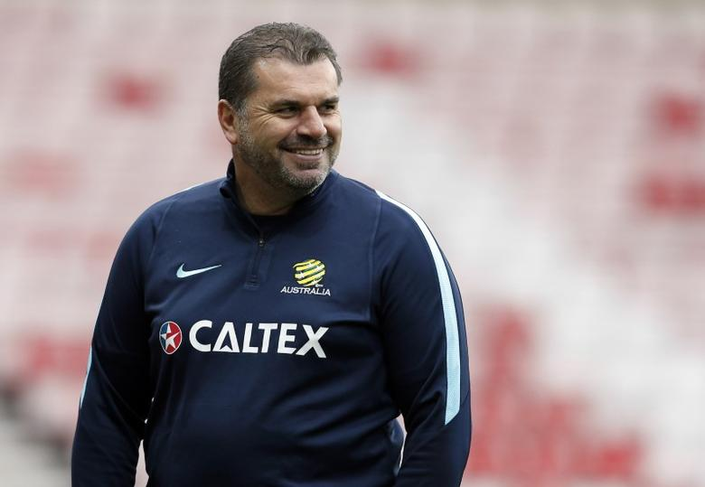 Britain Football Soccer - Australia Training - Stadium of Light, Sunderland - 26/5/16Australia Head Coach Ange Postecoglou during trainingAction Images via Reuters  / Ed SykesLivepic