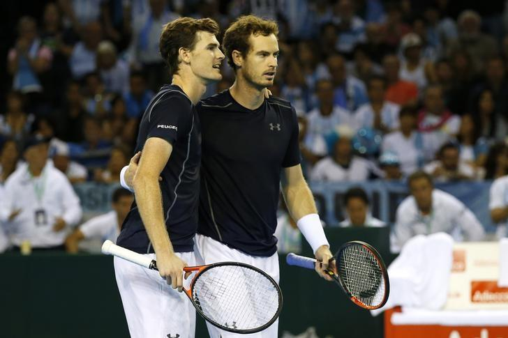 Tennis Britain - Great Britain v Argentina - Davis Cup Semi Final - Emirates Arena, Glasgow, Scotland - 17/9/16Great Britain's Andy Murray and Jamie Murray after winning their doubles match against Argentina's Juan Martin del Potro and Leonardo Mayer Action Images via Reuters / Andrew BoyersLivepic/File Photo