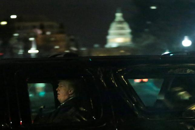 President Trump leaves after a dinner at Trump International Hotel in Washington.   REUTERS/Yuri Gripas