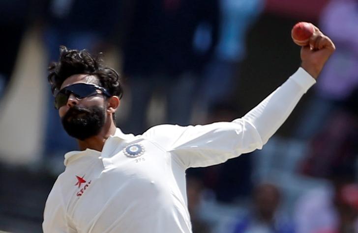 Cricket - India v Australia - Third Test cricket match - Jharkhand State Cricket Association Stadium, Ranchi, India - 20/03/17 - India's Ravindra Jadeja bowls. REUTERS/Adnan Abidi