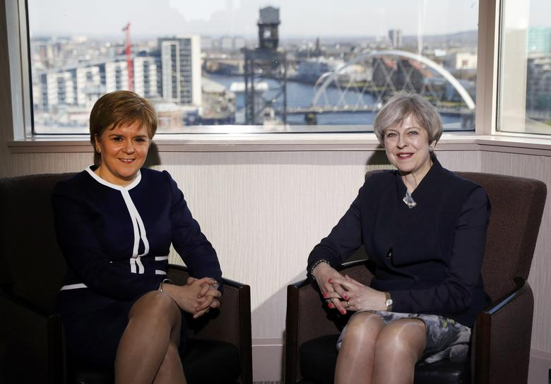Britain's Prime Minister Theresa May and Scotland's First Minister Nicola Sturgeon meet in a hotel in Glasgow, Scotland, March 27, 2017. REUTERS/Russell Cheyne