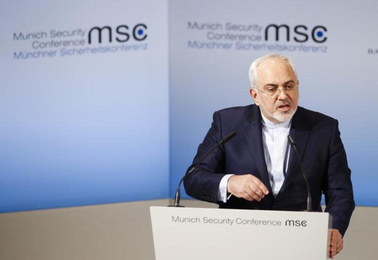 Iranian Foreign Minister Mohammad Javad Zarif delivers his speech during the 53rd Munich Security Conference in Munich, Germany, February 19, 2017. REUTERS/Michaela Rehle/Files