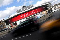 FILE PHOTO --  A Tesla car showroom is seen in west London, Britain, March 21, 2017.  REUTERS/Toby Melville/File Photo