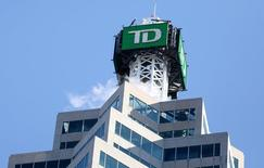 FILE PHOTO --  The TD bank logo is seen on top of the Toronto Dominion Canada Trust Tower in Toronto, Ontario, Canada March 16, 2017. Picture taken March 16, 2017.   REUTERS/Chris Helgren/File Photo