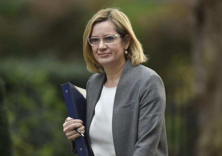 Britain's Home Secretary Amber Rudd arrives in Downing Street, London March 29, 2017. REUTERS/Hannah McKay