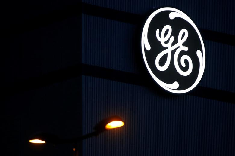 The General Electric logo is pictured on the General Electric offshore wind turbine plant in Montoir-de-Bretagne, near Saint-Nazaire, western France, November 21, 2016. REUTERS/Stephane Mahe