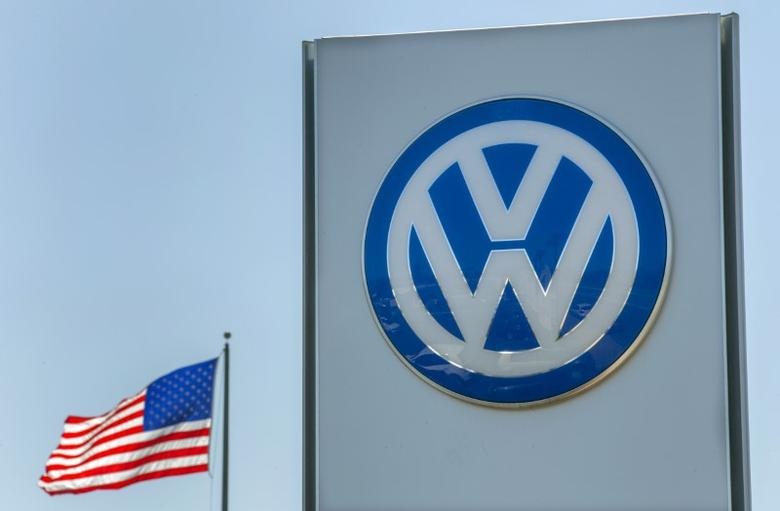 FILE PHOTO - An American flag flies next to a Volkswagen car dealership in San Diego, California, U.S. on September 23, 2015.  REUTERS/Mike Blake/File Photo