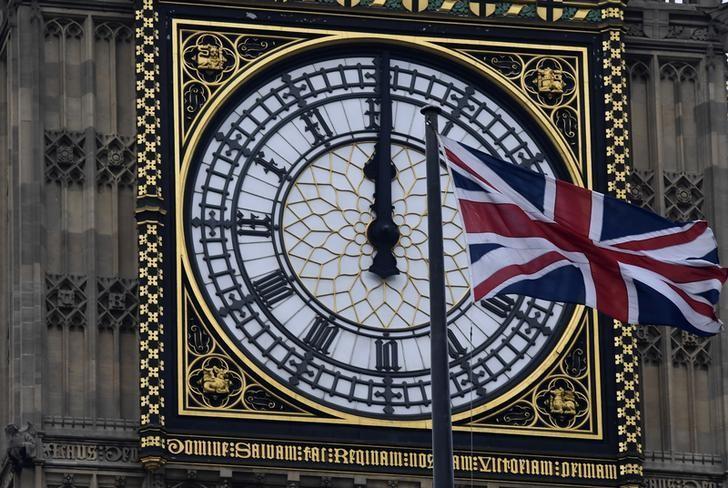 2017年1月26日,英国伦敦,大本钟前飘扬的英国国旗。REUTERS/Toby Melville