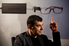 Amnon Shashua, co-founder of Israeli start-up Mobileye, gestures during an interview with Reuters at his second high-tech company, OrCam, makers of a wearable device which provides visual aid for visually impaired people, at their office in Jerusalem March 28, 2017. Picture taken March 28, 2017. REUTERS/Amir Cohen