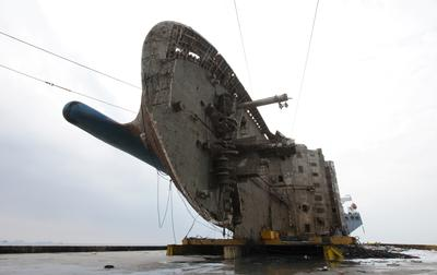 Sunken South Korean ferry raised