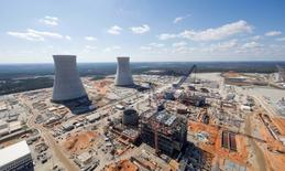 The Vogtle Unit 3 and 4 site, being constructed by primary contactor Westinghouse, a business unit of Toshiba, near Waynesboro, Georgia, U.S. is seen in an aerial photo taken February 2017.  Georgia Power/Handout via REUTERS