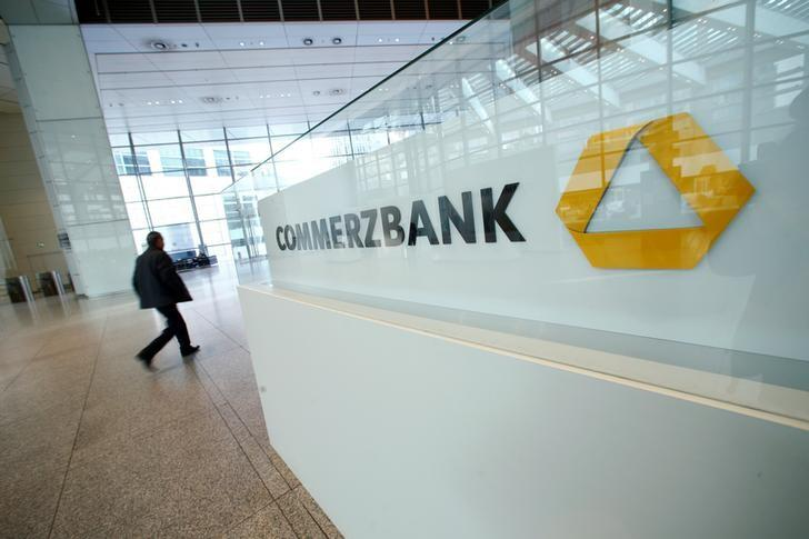 A Commerzbank logo is pictured before the bank's annual news conference in Frankfurt, Germany, February 9, 2017.      REUTERS/Ralph Orlowski