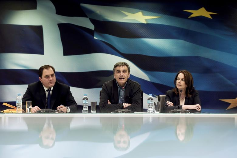 Greek Finance Minister Euclid Tsakalotos speaks during a news conference at the Ministry of Finance in Athens, Greece March 30, 2017. REUTERS/Alkis Konstantinidis