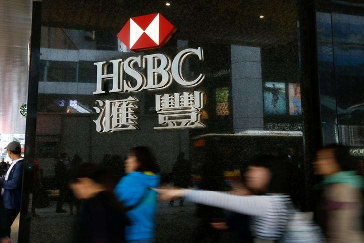 FILE PHOTO: People walk past a major branch of HSBC at the financial Central district in Hong Kong, China February 21, 2017. REUTERS/Bobby Yip/File Photo
