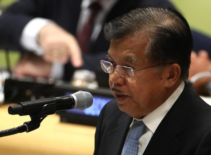Vice President Jusuf Kalla of Indonesia speaks during a high-level meeting on addressing large movements of refugees and migrants at the United Nations General Assembly in Manhattan, New York, U.S. September 19, 2016. REUTERS/Carlo Allegri/Files