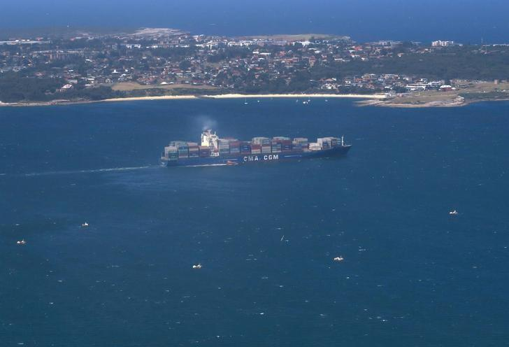 FILE PHOTO: A container ship sails from the Port Botany Container terminal in Sydney, Australia, January 30, 2017.  REUTERS/David Gray/File Photo