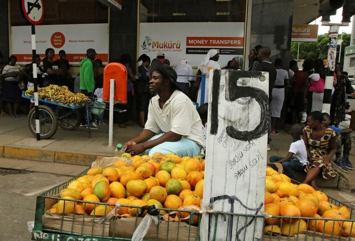 A fruit vendor waits to sell his goods outside a bank in central Harare, Zimbabwe December 19, 2016. REUTERS/Philimon Bulawayo