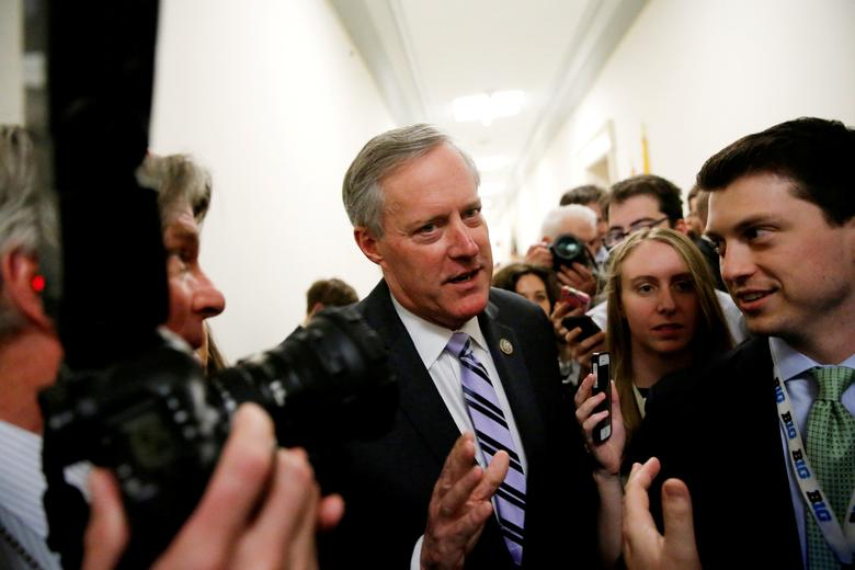 FILE PHOTO: House Freedom Caucus Chairman U.S. Representative Mark Meadows (R-NC) speaks to reporters on Capitol Hill in Washington, U.S., March 23, 2017. REUTERS/Jonathan Ernst/File Photo