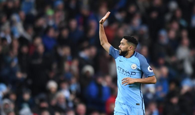 Britain Football Soccer - Manchester City v Burnley - Premier League - Etihad Stadium - 2/1/17 Manchester City's Gael Clichy celebrates scoring their first goal Reuters / Anthony Devlin