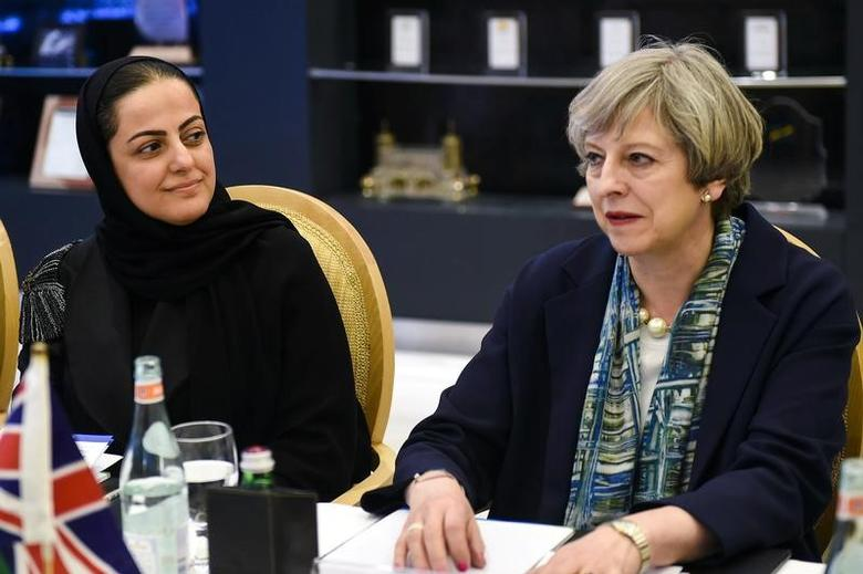 British Prime Minister Theresa May attends a meeting with Sarah al-Suhaimi, CEO of the Saudi Stock Exchange, in Riyadh, Saudi Arabia, April 4, 2017. REUTERS/Fayez Nureldine/Pool
