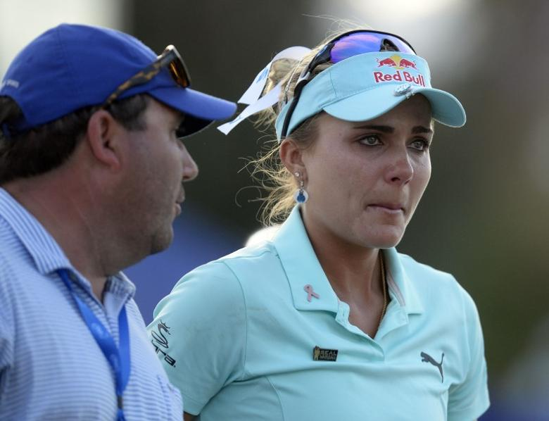 April 2, 2017; Rancho Mirage, CA, USA; Lexi Thompson reacts following her loss in a playoff against So Yeon Rryu during the final round of the ANA Inspiration golf tournament  at Mission Hills CC - Dinah Shore Tournament Cou. Mandatory Credit: Gary A. Vasquez-USA TODAY Sports