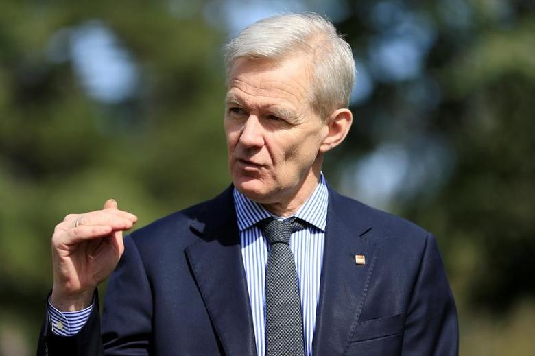 United Nations Special Advisor for Syria Jan Egeland speaks during an interview with Reuters during the fifth round of intra-Syrian talks in Geneva, Switzerland, March 23, 2017. REUTERS/Pierre Albouy