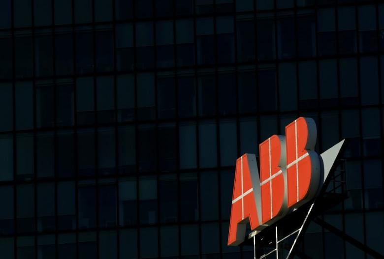 The logo of Swiss engineering group ABB is seen on a office building in Vienna, Austria, September 29, 2016.    REUTERS/Leonhard Foeger