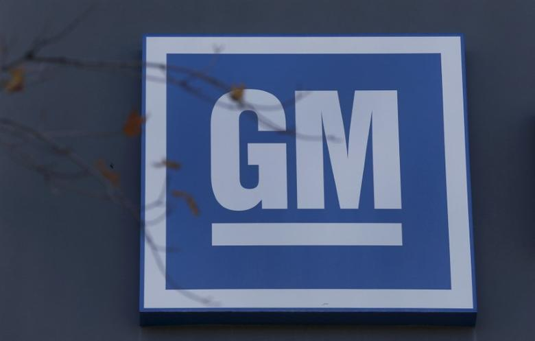 FILE PHOTO: The GM logo is seen at the General Motors Lansing Grand River Assembly Plant in Lansing, Michigan October 26, 2015. Photo taken October 26.   REUTERS/Rebecca Cook