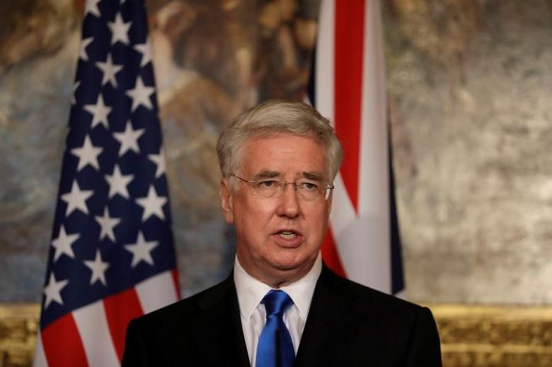 Britain's Defence Secretary Michael Fallon give a news conference with U.S. Defense Secretary James Mattis (not shown) at Lancaster House in London March 31, 2017. REUTERS/Matt Dunham/Pool